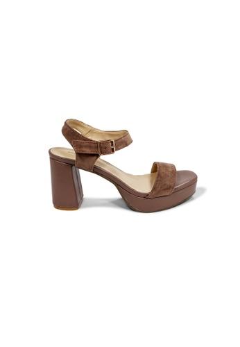 prettyFIT beige Khaki Velvet platform heeled HQ-1776 E2F27SH80DA973GS_1