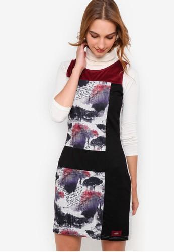 Azucar 撞色印花zalora 折扣碼無袖連身裙, 服飾, 洋裝