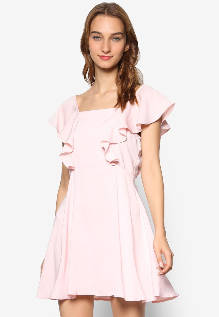 Love Fit And Flare Dress With Ruffle Sleeves