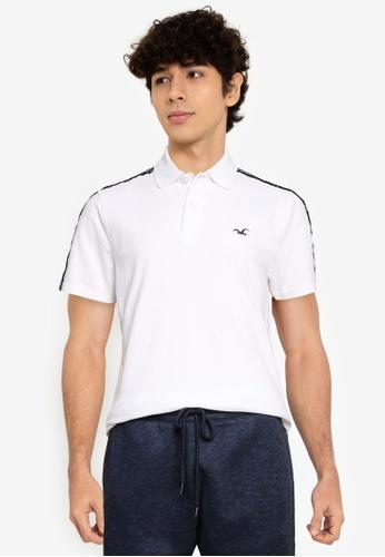 Hollister white Logo Tape Polo Shirt D9440AAFFE9829GS_1