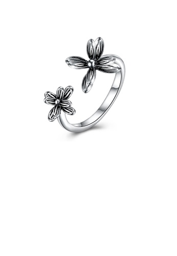 Glamorousky silver 925 Sterling Silver Vintage Elegant Noble Fashion Flower Adjustable Opening Ring D13F6AC0E3A3E2GS_1