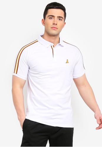 Brave Soul white Khalifa Polo Shirt with Tape to Sleeve 97E04AA1AC85F1GS_1