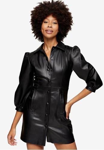 TOPSHOP black Black PU Shirt Mini Dress 3B228AAD6C8E59GS_1