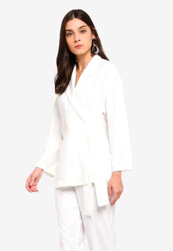 ZALORA white Co-Ord Self Tie Jacket F2A74AA79A2C51GS_1