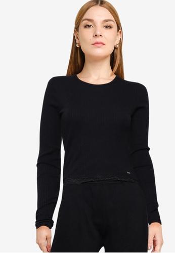 Hollister black Long Sleeves Slim Lace Hem Top 5511DAAF6B6B0CGS_1
