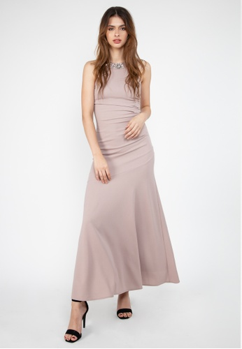 Paperdolls pink Elena Sleeveless Gown with Flower Detailed Neckline 49550AAF3ED5D3GS_1
