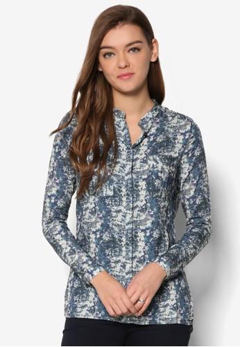 中式領印花長袖襯衫, 服飾, 上esprit台灣官網衣