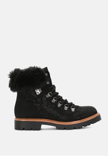 London Rag 黑色 蕾丝与人造毛皮领子配有闪亮鞋带钉的靴子 06CF1SH672A03BGS_1