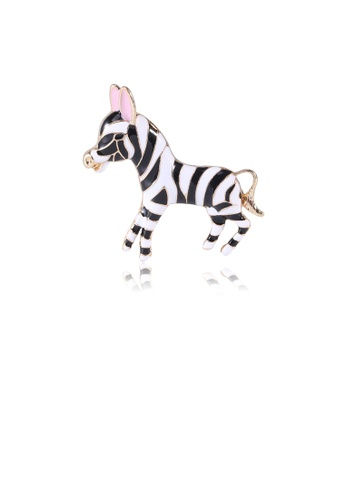 Glamorousky silver Simple and Cute Plated Gold Zebra Brooch 3951DAC2E50244GS_1
