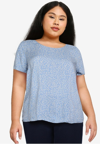 Only CARMAKOMA blue Plus Size Lolli Short Sleeves Blouse 3C450AAA5C914EGS_1