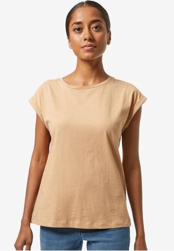 Dorothy Perkins brown Petite Camel Organic Tee AFA4EAA469C03EGS_1