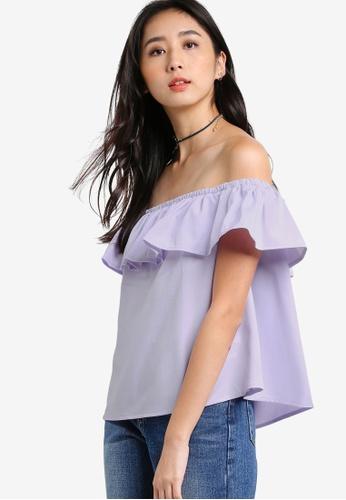 Something Borrowed purple Off Shoulder Top B79E5AA55DB07FGS_1