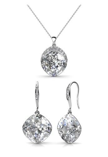 Her Jewellery white and silver Swarovski® Crystals - Tiffy Set (White)(18K White Gold Plated) Her Jewellery HE581AC0R9X5MY_1