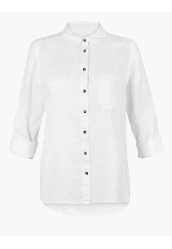 MARKS & SPENCER white M&S Pure Linen Shirt 337D7AA139C5E0GS_1