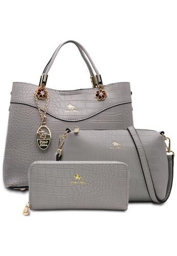 POLO HILL grey POLO HILL Scaly Textured Handbag 3-in-1 Set 1B08BAC4F93C40GS_1