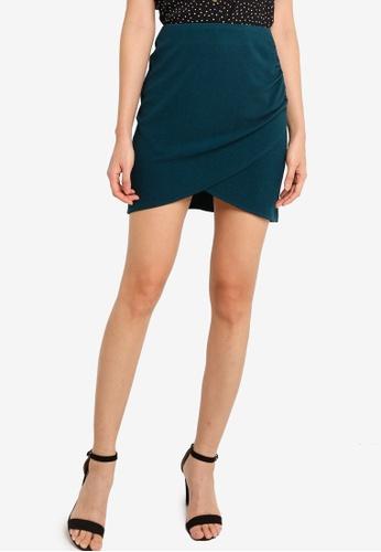 ZALORA BASICS green Wrap Ruched Mini Skirt EA0C2AA94A20E8GS_1