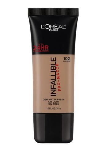L'Oréal Paris brown L'Oreal Paris Infallible Pro-Matte Liquid Foundation - 102 Shell Beige 316D4BE959690DGS_1
