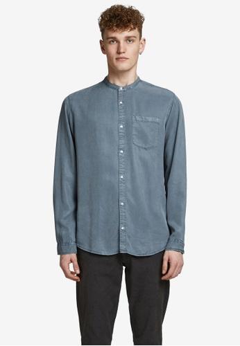 JACK & JONES blue Tencel Band Long Sleeve Shirt 46CB4AA01296DDGS_1