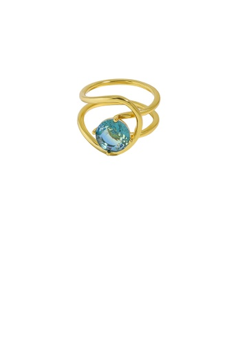 Glamorousky blue 925 Sterling Silver Plated Gold Simple Personality Double-layer Geometric Lines Blue Cubic Zirconia Adjustable Ring BE30BAC4C9640DGS_1