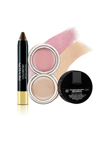Revlon brown and pink and beige ColorStay™ Crème Eye Shadow & Brow Crayon Set 3 RE737BE0FUYMSG_1