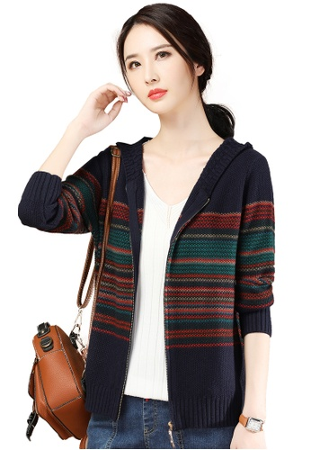 A-IN GIRLS multi and navy Ethnic Striped Hooded Knitted Jacket 48740AAC676581GS_1