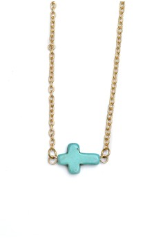 Sideways Horizontal Colored Cross Necklace