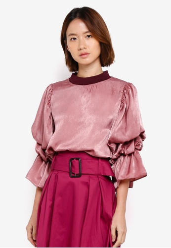 Haute Kelly pink Hanuel Puff Sleeve Top 00350AA7E4A61BGS_1
