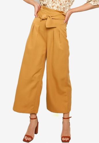 ZALORA WORK brown Paperbag Wide Leg Pants B057EAA365FB98GS_1