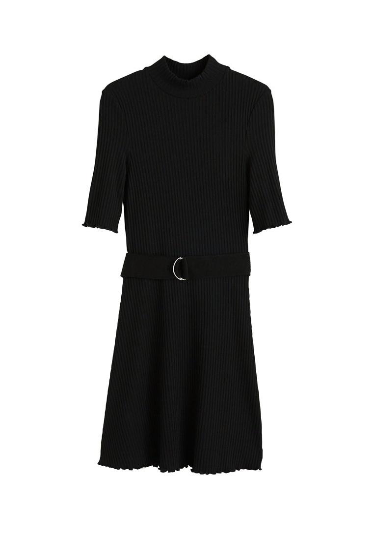Mango Black Dress Belt Belt Ribbed Ribbed xqv46PH