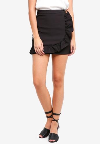 Something Borrowed black Asymmetric Ruffle Mini Skirt 162DBAABD69740GS_1
