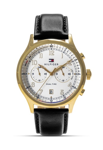 Tommy Hilfiger Watches black and white and gold Men's Leather Strap Watch TO959AC0KUDVPH_1