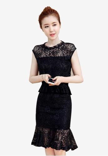 Lara black Lace Elegant Black Dress Top and Skirt Set E8072AA2B09649GS_1