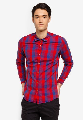 Fidelio red Washed Checkered Long Sleeves Shirt 9C318AA303A6F4GS_1