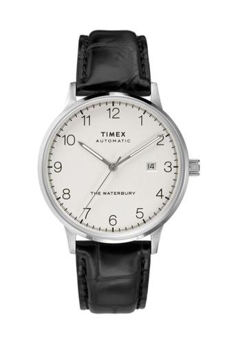TIMEX black and silver Timex Waterbury Automatic 40mm - Silver-Tone Case, Black Strap (TW2T69900) 047F2AC546CC82GS_1