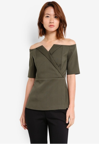 ZALORA green Off Shoulder Formal Bustier 3AEC5AA4F56931GS_1