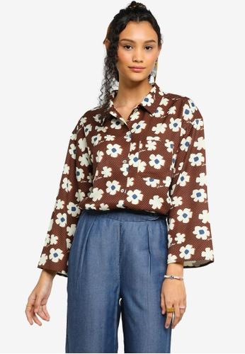 Lubna brown Printed Wide Sleeve Shirt 935BBAABAF1DEEGS_1