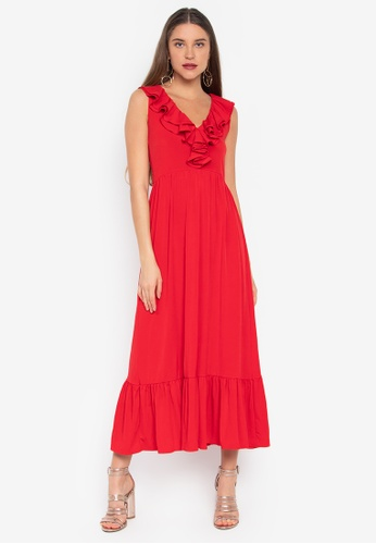 f28e291d6b Shop Ashley Collection V-Neck Ruffled Maxi Dress Online on ZALORA ...