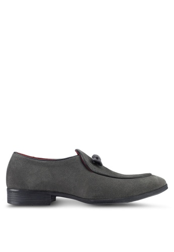 Acuto grey Leather Loafers AC283SH0SL5MMY_1
