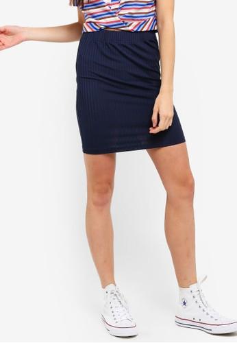 Something Borrowed navy Rib Mini Skirt 53CDAAA3F9F54CGS_1