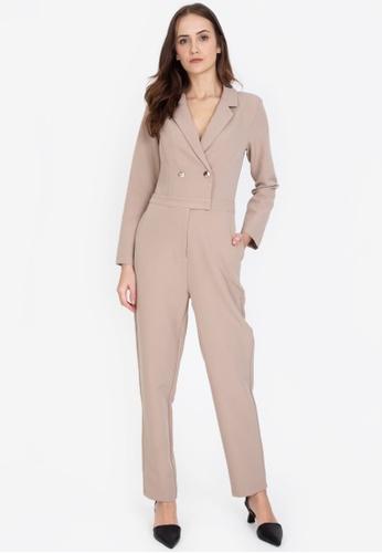 ZALORA WORK brown Long Sleeves Lapel Jumpsuit 5F6BAAA932BC6CGS_1