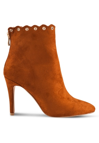 ZALORA brown Mixed Material Booties 5C681SHF7E9DBBGS_1