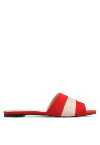 ZALORA red Dual Toned Sandals E1394SHC985CEBGS_1