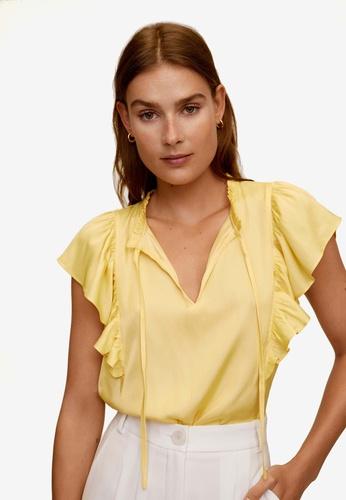 Mango yellow Ruffled Blouse 53AC9AAEB25D33GS_1