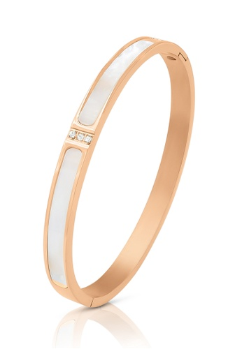 SO SEOUL gold Claire Mother of Pearl with Austrian Crystal Rose Gold Hinged Bangle 32812ACFC299C3GS_1