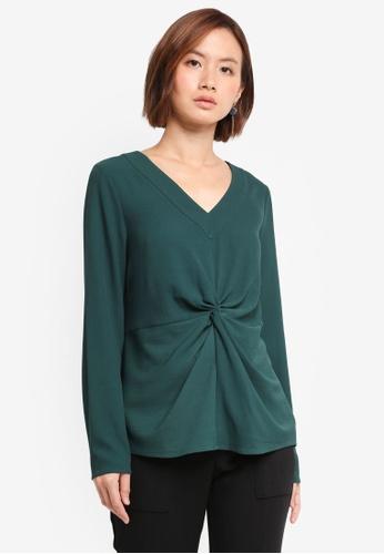 ZALORA green Twist Front Blouse AAACFAA6DE33C5GS_1