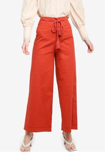 Zalia red Rope Detail Wide Leg Pants FF35DAAB80970DGS_1