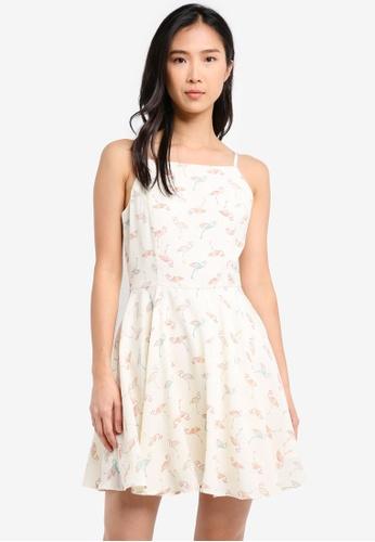ZALORA white Halter Neck Fit & Flare Dress 8254FAA78001ECGS_1