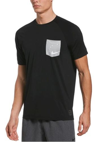 Nike black Nike Swim Men's Logo Short Sleeve Hydroguard 5178EUS6638F3DGS_1