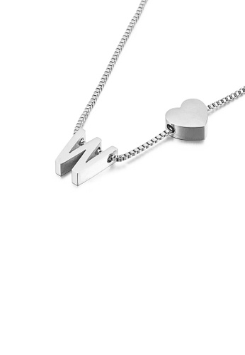Glamorousky silver Simple and Fashion Heart-shaped English Alphabet W 316L Stainless Steel Pendant with Necklace 560EFACCE56A57GS_1