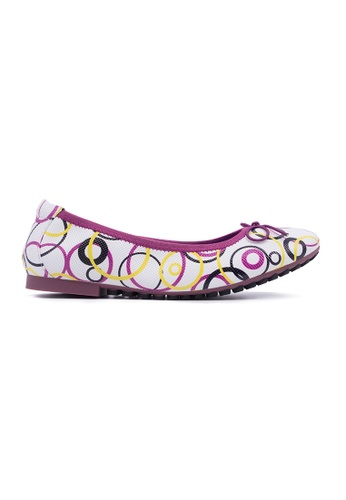 Flatss & Heelss by Rad Russel white and yellow and purple and multi Multi Colour Circles Shape Prints Flats FL655SH0GQAESG_1